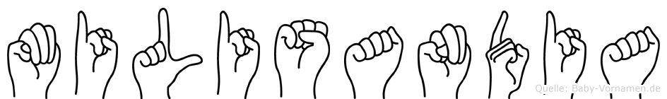 Milisandia im Fingeralphabet der Deutschen Gebärdensprache