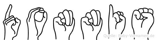 Donnis im Fingeralphabet der Deutschen Gebärdensprache
