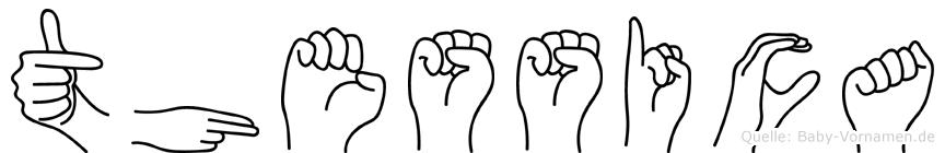 Thessica im Fingeralphabet der Deutschen Gebärdensprache