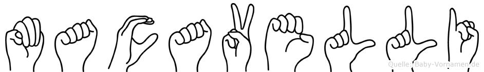 Macavelli im Fingeralphabet der Deutschen Gebärdensprache