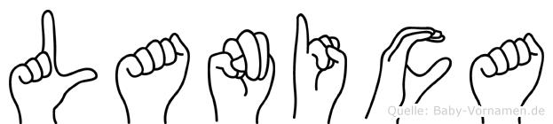Lanica im Fingeralphabet der Deutschen Gebärdensprache