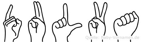 Dulva im Fingeralphabet der Deutschen Gebärdensprache