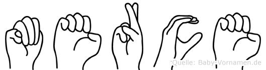 Merce im Fingeralphabet der Deutschen Gebärdensprache