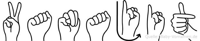 Vanajit im Fingeralphabet der Deutschen Gebärdensprache