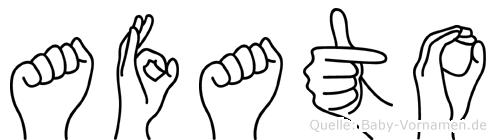 Afato im Fingeralphabet der Deutschen Gebärdensprache