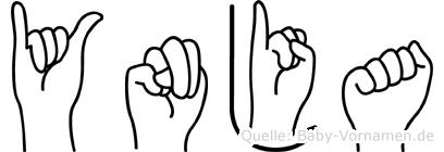 Ynja im Fingeralphabet der Deutschen Gebärdensprache
