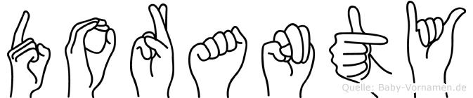 Doranty im Fingeralphabet der Deutschen Gebärdensprache