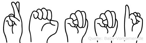 Renni im Fingeralphabet der Deutschen Gebärdensprache