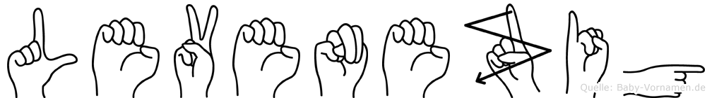 Levenezig im Fingeralphabet der Deutschen Gebärdensprache