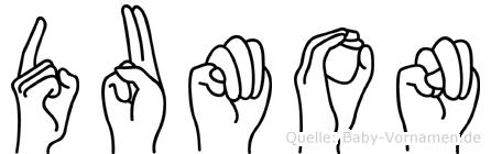 Dumon im Fingeralphabet der Deutschen Gebärdensprache