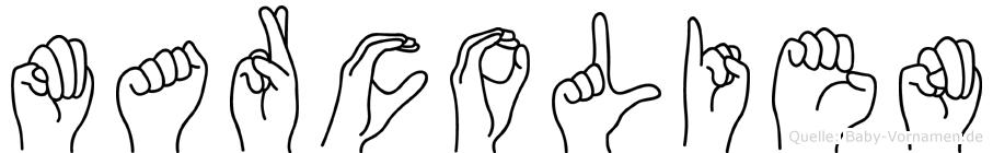 Marcolien im Fingeralphabet der Deutschen Gebärdensprache