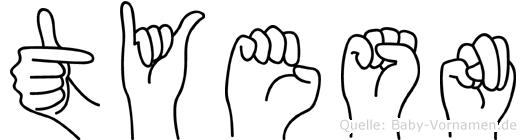 Tyesn in Fingersprache für Gehörlose
