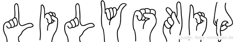 Lilyskip im Fingeralphabet der Deutschen Gebärdensprache
