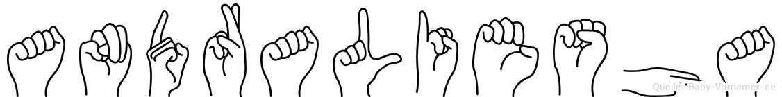Andraliesha im Fingeralphabet der Deutschen Gebärdensprache