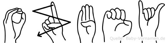 Ozbey im Fingeralphabet der Deutschen Gebärdensprache