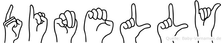 Dinelly im Fingeralphabet der Deutschen Gebärdensprache