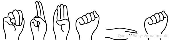 Nubaha im Fingeralphabet der Deutschen Gebärdensprache