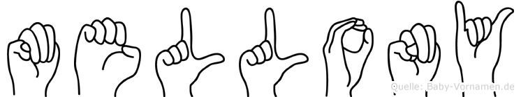 Mellony im Fingeralphabet der Deutschen Gebärdensprache