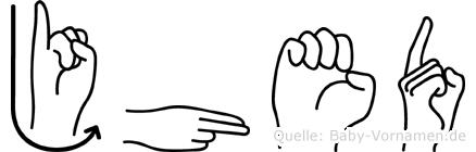 Jhed in Fingersprache für Gehörlose