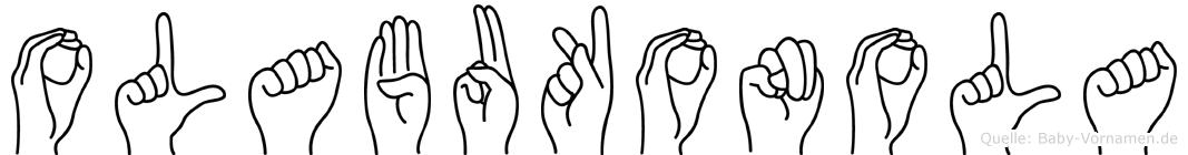 Olabukonola im Fingeralphabet der Deutschen Gebärdensprache
