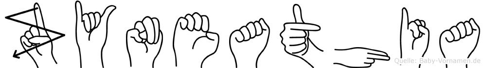Zyneathia im Fingeralphabet der Deutschen Gebärdensprache