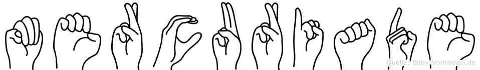 Mercuriade im Fingeralphabet der Deutschen Gebärdensprache