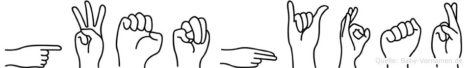 Gwenhyfar im Fingeralphabet der Deutschen Gebärdensprache