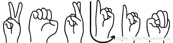 Verjin in Fingersprache für Gehörlose