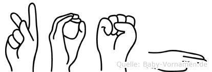 Kosh in Fingersprache für Gehörlose