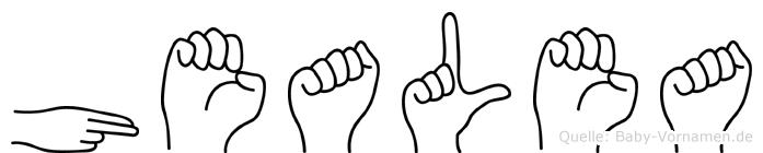 Healea im Fingeralphabet der Deutschen Gebärdensprache