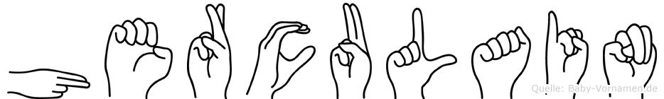 Herculain im Fingeralphabet der Deutschen Gebärdensprache