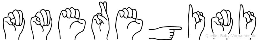 Nmeregini im Fingeralphabet der Deutschen Gebärdensprache