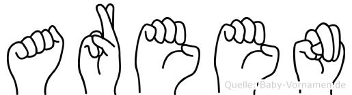 Areen im Fingeralphabet der Deutschen Gebärdensprache
