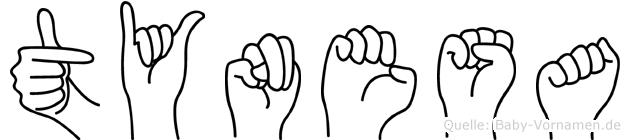 Tynesa im Fingeralphabet der Deutschen Gebärdensprache