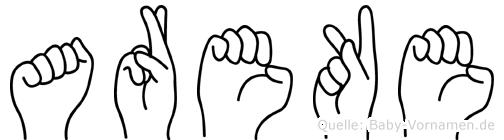 Areke im Fingeralphabet der Deutschen Gebärdensprache