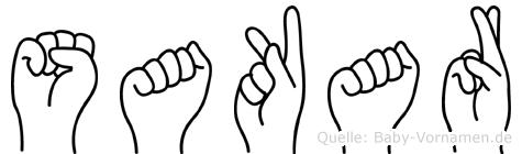 Sakar im Fingeralphabet der Deutschen Gebärdensprache