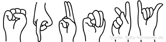 Spunky in Fingersprache für Gehörlose