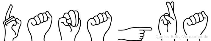 Danagra im Fingeralphabet der Deutschen Gebärdensprache