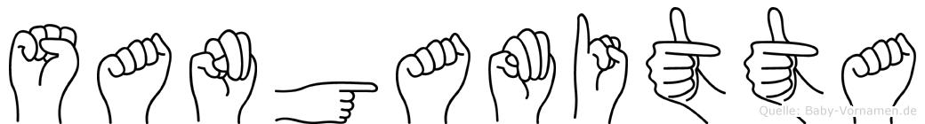 Sangamitta im Fingeralphabet der Deutschen Gebärdensprache