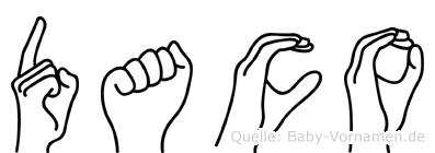 Daco im Fingeralphabet der Deutschen Gebärdensprache