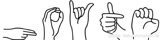 Hoyte im Fingeralphabet der Deutschen Gebärdensprache