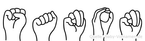 Sanon im Fingeralphabet der Deutschen Gebärdensprache