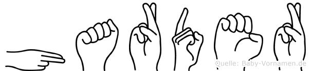 Harder im Fingeralphabet der Deutschen Gebärdensprache