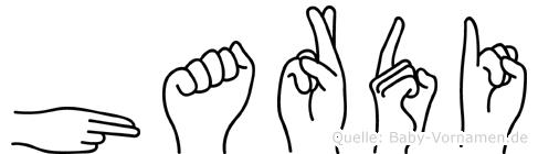 Hardi im Fingeralphabet der Deutschen Gebärdensprache