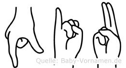 Qiu im Fingeralphabet der Deutschen Gebärdensprache