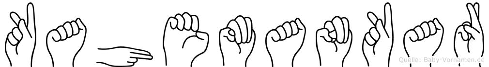 Kahemankar im Fingeralphabet der Deutschen Gebärdensprache