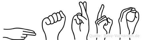 Hardo im Fingeralphabet der Deutschen Gebärdensprache