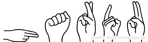 Hardu im Fingeralphabet der Deutschen Gebärdensprache