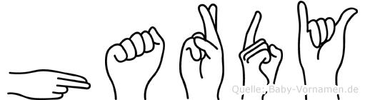 Hardy im Fingeralphabet der Deutschen Gebärdensprache