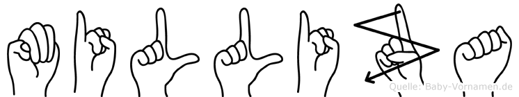 Milliza im Fingeralphabet der Deutschen Gebärdensprache